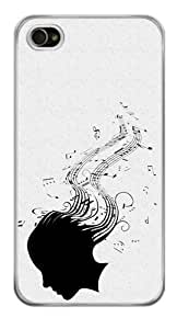 Girl Silhouette Music Notes Sheet Snap-On Cover Hard Plastic Case for iPhone 4/4S (Clear)