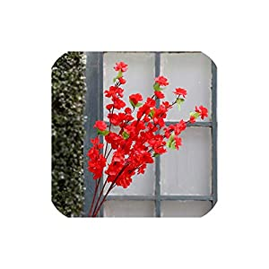 Artificial Cherry Spring Plum Peach Blossom Branch Silk Flower Home Wedding Decorative Flowers Plastic Peach Bouquet 68Cm,Red 10
