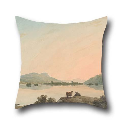 Oil Painting John Warwick Smith - Lake Windermere From Calgarth With Belle Isle Pillow Cases ,best For Valentine,saloon,gf,car,play Room,teens Girls 18 X 18 Inches / 45 By 45 Cm(each Side) (Rose Windermere)