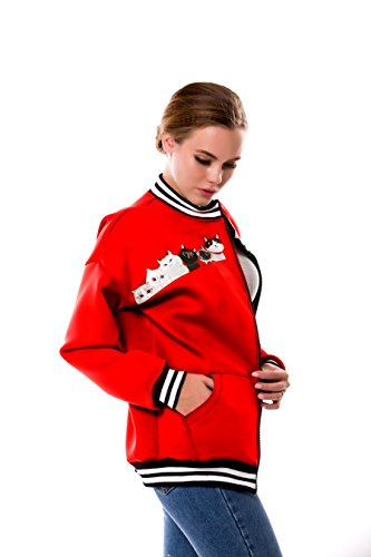 béisbol BaronHong con Size Chaqueta Plus Rojo Women's Designer Impreso Casual de cremallera zzxT8qErw