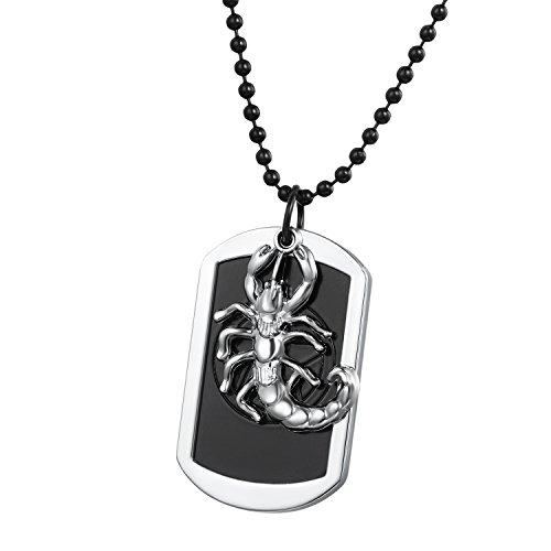 Flongo Metalllegierung Legierung Anhänger Halskette Silber Schwarz Skorpion König Fotorahmen Dog Tag 70cm Kugel Kette Herren,Damen