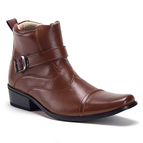 Boots Cowboy Tip Boot (Jazame Men's Leather Lined Wing Tip Mid Calf High Ankle Dress Boots, Cognac, 12)