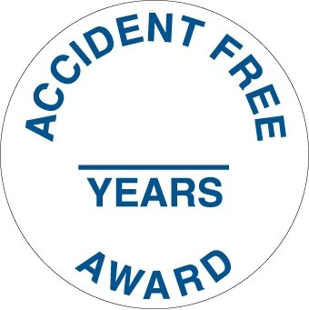 NMC HH111 2'' x 2'' PS Vinyl Hard Hat Emblem w/Legend: ''Accident Free & Years Award'', 12 Packs of 25 pcs