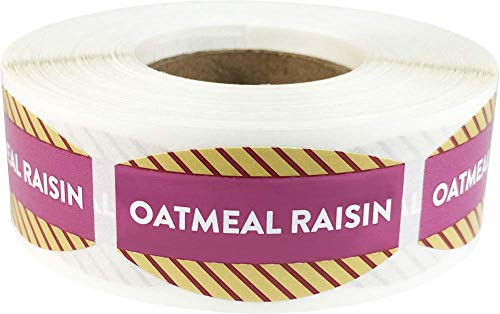 Oatmeal Raisin Grocery Store Food Labels .75 x 1.375 Inch Oval Shape 500 Total Adhesive Stickers