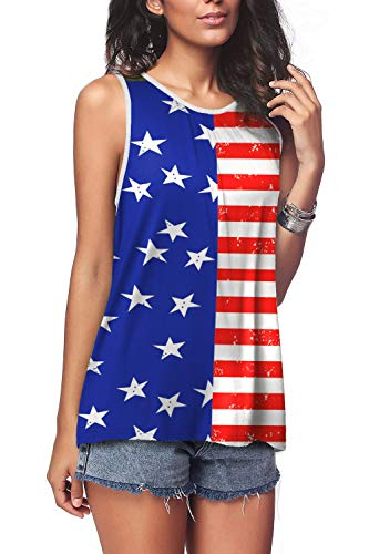Bloggerlove Women's Patriotic American Flag Print Summer Sexy Sleeveless T-Shirts Tank Top