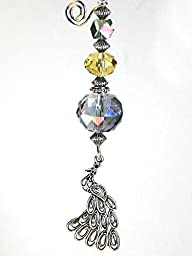 Pretty Antiqued Silvery Peacock with Amber, Green & Purple-Blue Glass Ceiling Fan Pull