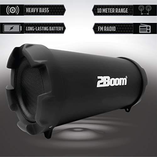 بلندگو در فضای باز بلوتوث بی سیم بلوتوث بی سیم 2BOOM Mini Bass با نمایشگر  LED رادیویی FM - سیاه