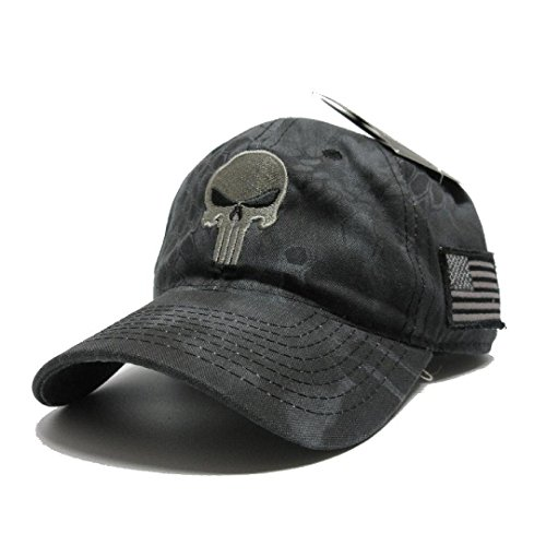 Military imagine Kryptek Punisher Skull camo Hat Gray w/US - Import It All