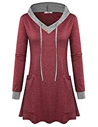 Viracy Sweatshirts For Women Ladies Burgundy Pullover Hoodie Casual Tops To Wear With Leggings Long Sleeve V Neck Spring Utility Tunic Jersey Basic Soft Flyaway Outerwear Color Block Wine Xl
