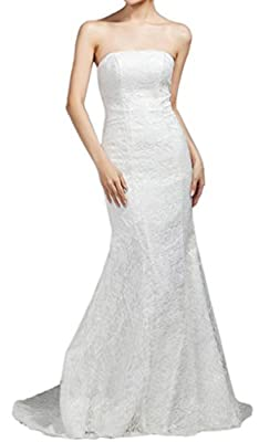 Eyekepper Bridesmaid Sexy Strapless Wedding Long Dress Mermaid Lace Prom Gown