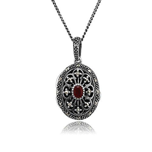 925 Sterling Silver Cornelian & Marcasite Oval Locket Necklace