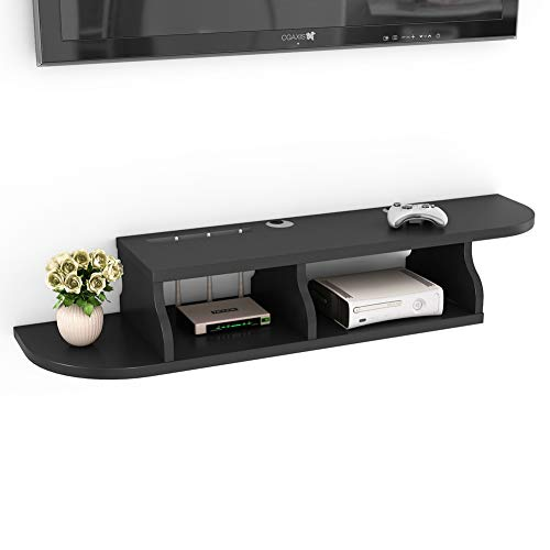 (Tribesigns 2 Tier Modern Wall Mount Floating Shelf TV Console 47.2x10.6x7 inch for Cable Boxes/Routers/Remotes/DVD Players/Game Consoles (Black Color))