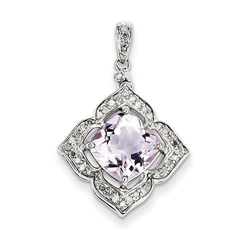 Argent Sterling diamant pendentif Rose fleur en améthyste et JewelryWeb