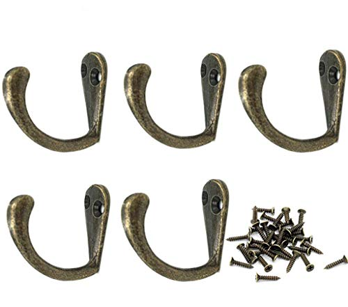 ALIMITOPIA 20pcs Metal Hook with 40pcs Screw,Medium Antique Bronze Tone Door Wall Mounted Single Hook Hanger