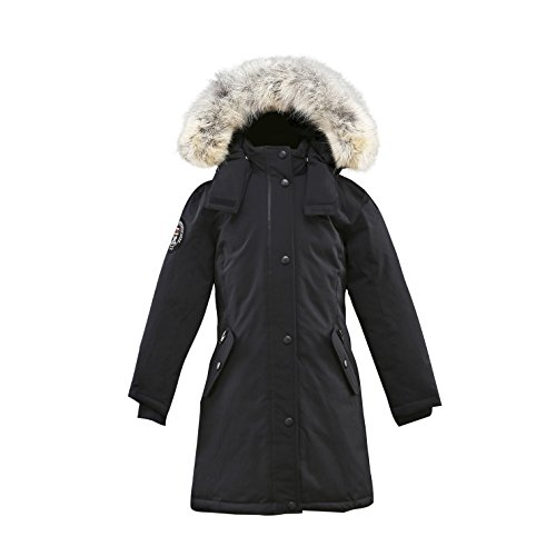 Triple F.A.T. Goose Alistair Girls Down Jacket Parka With Real Coyote Fur (10, Black) by Triple F.A.T. Goose
