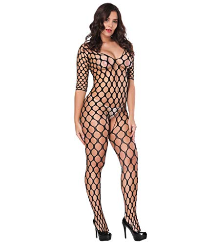 - Deksias Crotchless Bodystocking Plus Size Open Crotch Lingerie (black2)
