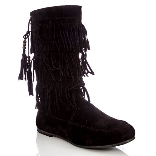 Pink Label Girl's Slip-On Three-Layer Fringe Boot With Beaded Tassels In Black Size: 5 (Five Layer Fringe)