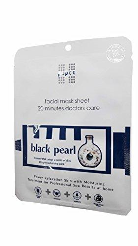 Flat Sheet Pearl - 4 Mask Sheets of Pop Co, Black Pearl Facial Mask Sheet. Essence that brings a sense of skin Deep moisturizing pack. (28 ml/ sheet.)..