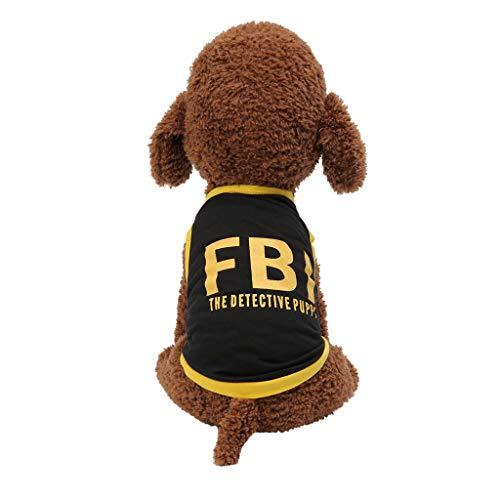 Fbi Romper - OUBAO Pet Clothes, Dog Vest Tanks Tops Tees Blouses Shirts for Puppy Dress Skirt Romper Bodysuit for Pet Cats Dogs Fashion FBI Print Dog Cat Clothing