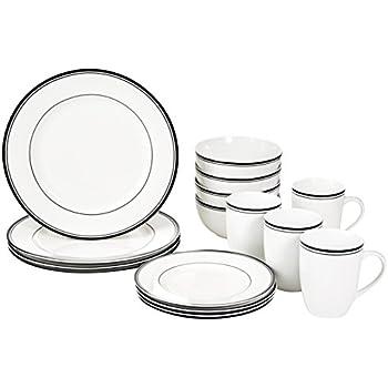 farmhouse black and cream country star dinnerware stoneware 16 piece set. Black Bedroom Furniture Sets. Home Design Ideas