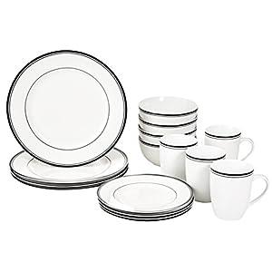 Amazon-Basics-Vajilla-de-16-piezas-con-franja-de-color-servicio-para-4
