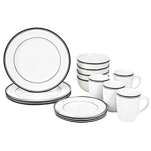 AmazonBasics 16-Piece Cafe Stripe Dinnerware Set Service for 4 - Black  sc 1 st  Amazon.com & Plates and Bowls: Amazon.com