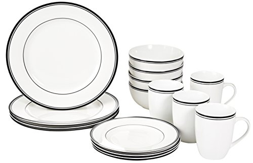 AmazonBasics 16-Piece Cafe Stripe Kitchen Dinnerware Set, Plates, Bowls, Mugs, Service for 4, Black (And Bowl Black Plate Set)