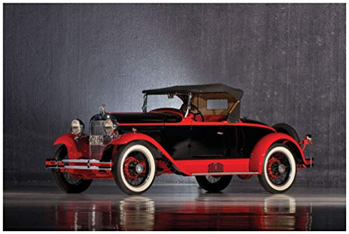 edabout Boattail Roadster by Biddle & Smart (1929) Car Art Poster Print on 10 Mil Archival Satin Paper Black/Red Front Side Static View (24