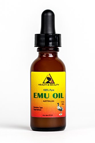 Emu Oil Australian Organic Triple Refined Premium Quality Natural 100% Pure 1 oz with Glass Dropper