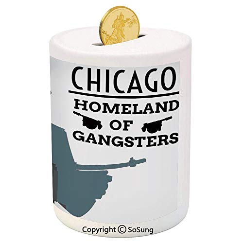 SoSung Vintage Decor Ceramic Piggy Bank,Double Exposure of Gangster with Gun on Chicago Skyscrapers Homeland of Mafia 3D Printed Ceramic Coin Bank Money Box for Kids & Adults,Grey Black