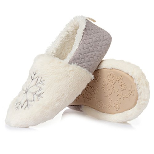Womens Slippers Slippers Christmas Anti Snowflake Warm Grey Printed Zoylink Winter L Skid Slippers dwavtIdnq