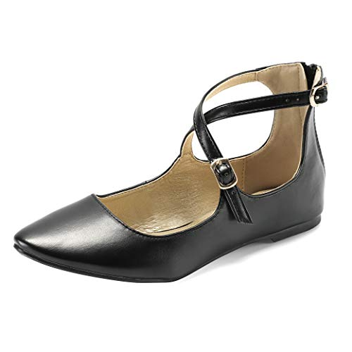 Women's Adjustable Cross Ankle Strap Flats Casual Flat Shoes Black Pu 09