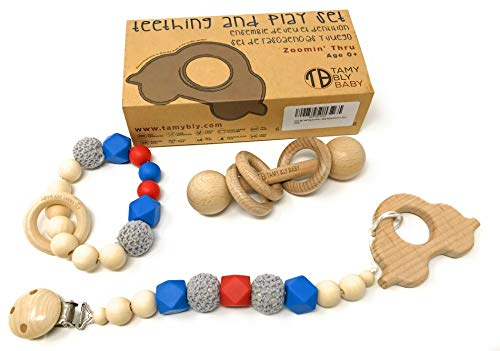 Tamy Bly Natural Wood & Silicone Pacifier Clip Teether, Teething Bracelet, Wooden Teethers, Wood Teething Rings, Updated Assembled Wood Teething Rattle|5pcs Baby Teether Toys Set|BPA Free|Zoomin Thru