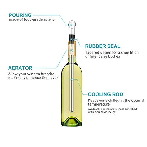 Wine Chiller, 3-in-1 Stainless Steel Wine Bottle Cooler Stick - Rapid Iceless Wine Chilling Rod with Aerator and Pourer - Perfect Wine Accessories Gift by Newward (Image #2)