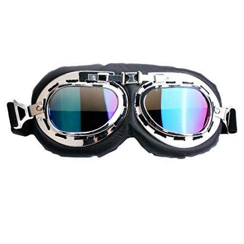 spiid Motorcycle Riding Goggles Motocross Racer Goggles Dirt Bike Goggles Sports Scratch Resistant Wrap Riding Goggles Protective Safety Off Road Goggles Over Glasses (Colorful ()