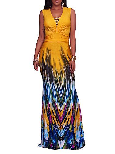 YouSun Women's Summer Casual Floral Print Sexy V-Neck Sleeveless Long Stretch Bodycon Party Maxi Dress Yellow