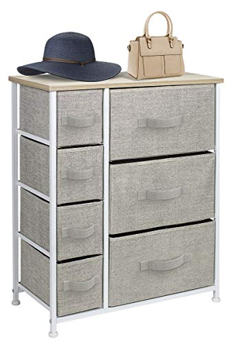 Sorbus Dresser with Drawers - Furniture Storage Tower Unit for Bedroom, Hallway, Closet, Office Organization - Steel Frame, Wood Top, Easy Pull Fabric Bins (7-Drawer, Beige) (Dresser Bedroom Drawers)