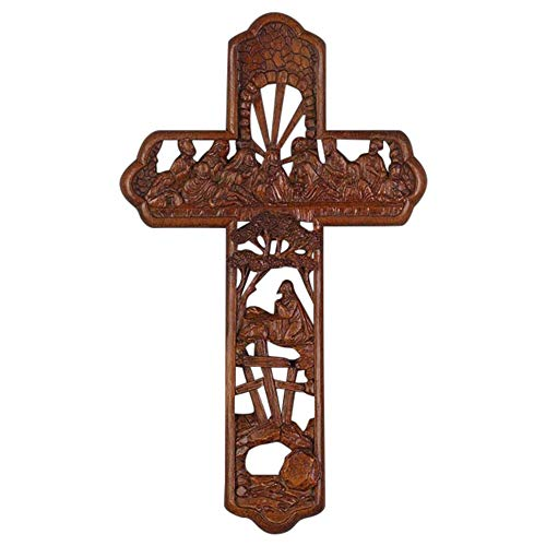 Dicksons Lord's Last Supper Woodgrain Carved 12 Inch Resin Wall Cross