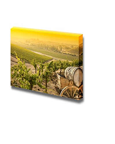 Grape Vineyard with Vintage Barrel Carriage Wagon Wall Decor ation ...
