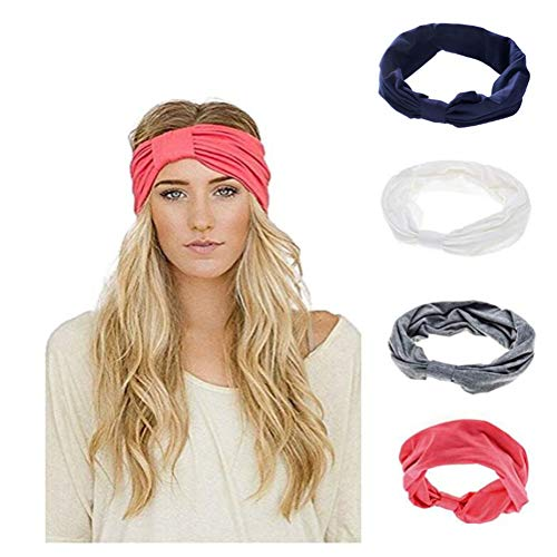 Ever Fairy Women Elastic Turban Head Wrap Headband Twisted Hair Band (4 Color Pack G)