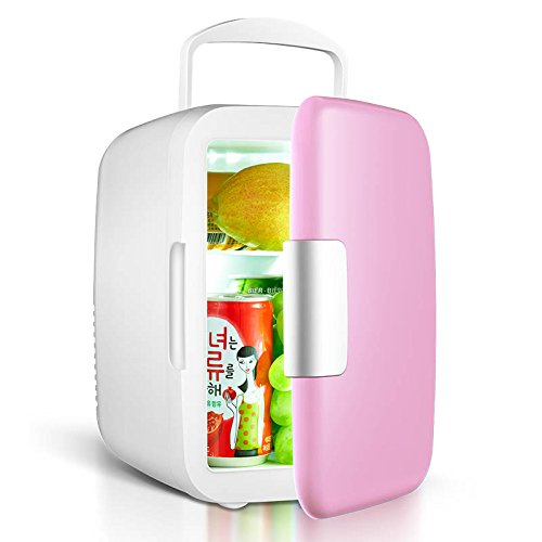 Zehui Cooler and Warmer with 1.9M Power Cord Portable 4 L/6 pcs 12-oz. Cans 25 dB Running Sound Car Use Mini Fridge Pink