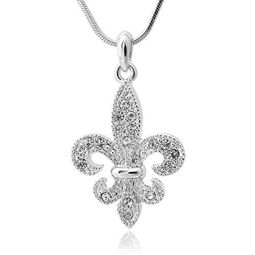 (Spinningdaisy Silver Plated Fleur De Lis Boy Scout Necklace)