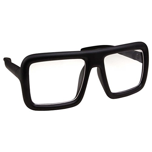 Thick Square Frame Clear Lens Glasses Eyeglasses Super Oversized Fashion and Costume - Matte - Black Thick Glasses
