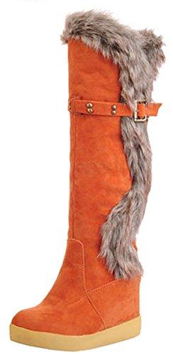 Ziehen Zehe an Sie Pelz Ferse flauschiger Warmer geklemmt Easemax Damen runde Stiefel hoch kniehohe versteckte Orange qZHw0IxSn