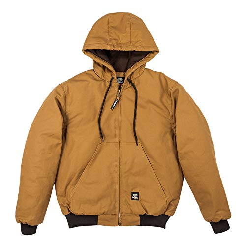 (Berne Men's Original Hooded Jacket, Brown, Large/Regular)
