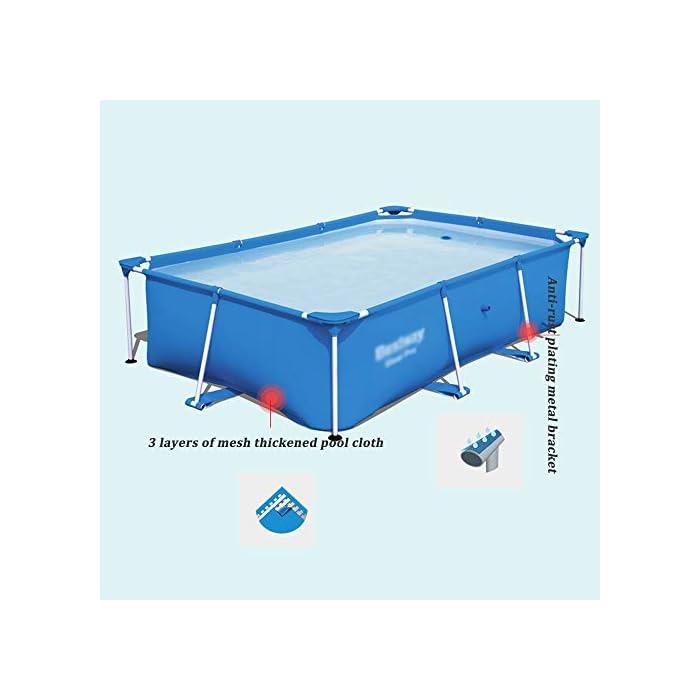 41LWwZWaW1L ✔ Hecho de material de malla de PVC de tres capas, natación de alta resistencia, duradera y segura ✔ La piscina está conectada con tubos de electrochapado antioxidantes para prolongar la vida útil. ✔ Cinco especificaciones, con capacidad para 2-6 personas