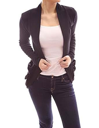 PattyBoutik Comfy Long Sleeve Open Front Ruched Pocket Light Boyfriend Jersey Cardigan (Black M)