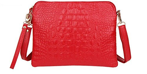 Red Croc Pattern (Crocodile Clutch Messenger Bags Handbags Women Genuine Leather Solid Shoulder (Red)