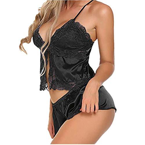 Lingerie for Women for Sex,Womens Plus Size Eyelash Lace Lingerie Bodydoll V-Neck Lace Details Pajamas Set,Black,M