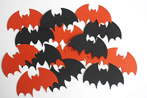 50 Black Orange Paper Bats, Halloween Vampire Bats Party Supply